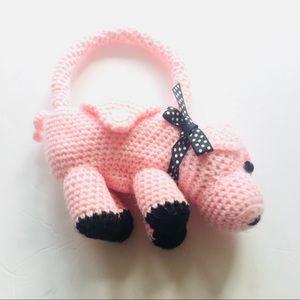 Lil Girls Handmade Crochet 'piggy' Purse